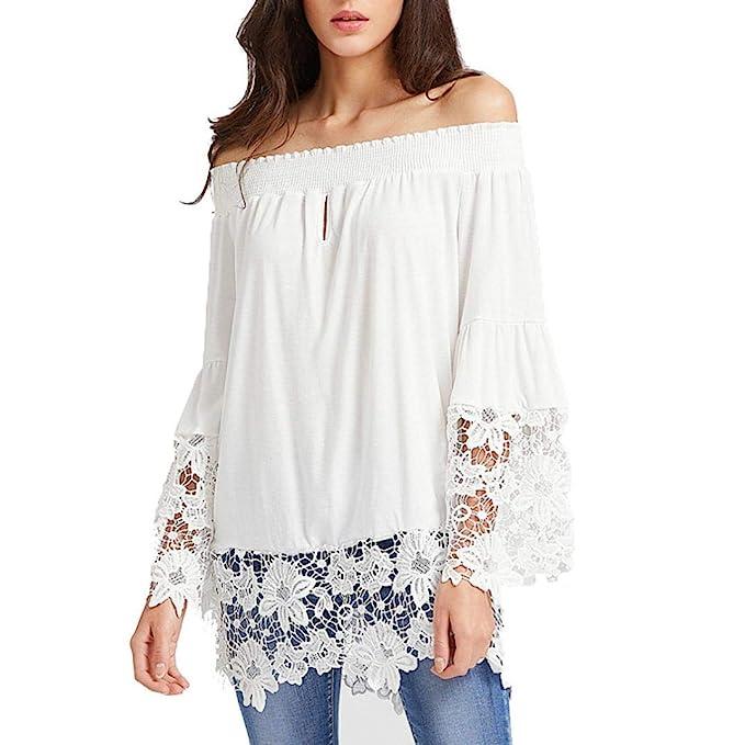 Blusas Mujer Elegantes De Encaje,Largo Mangas Off Shoulder Moda Diario Casuales Camiseta Halter De