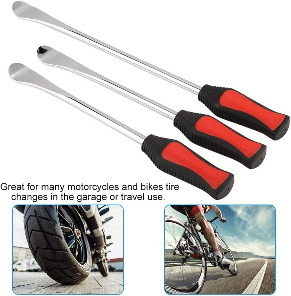 3Pcs Spoon Motorcycle Tire Iron Changing Rim Protector Tool w// 2x Rim Protectors