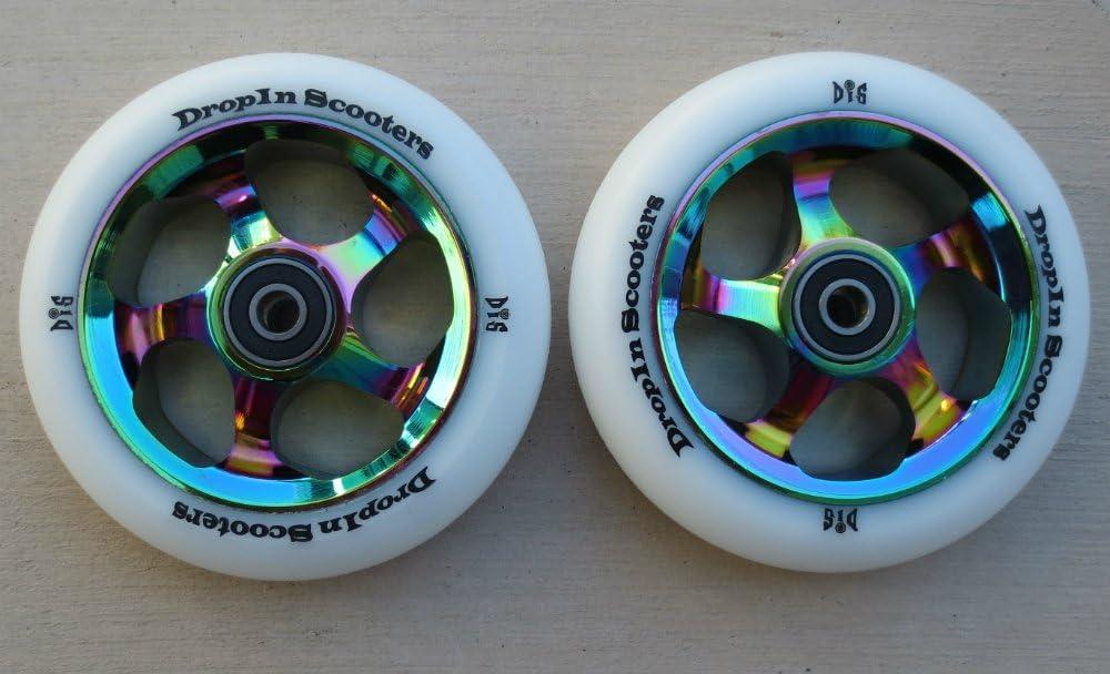 Pair 110mm Black on Blue Metal Core Scooter Wheels w//ABEC-11 Bearings 2 Wheels