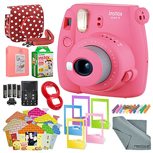 Fujifilm Instax Mini 9 Instant Film Camera (Flamingo Pink) & Deluxe Accessory Kit w/Selfie Lens + Mini Album & Case + Films + Assorted Frames + More