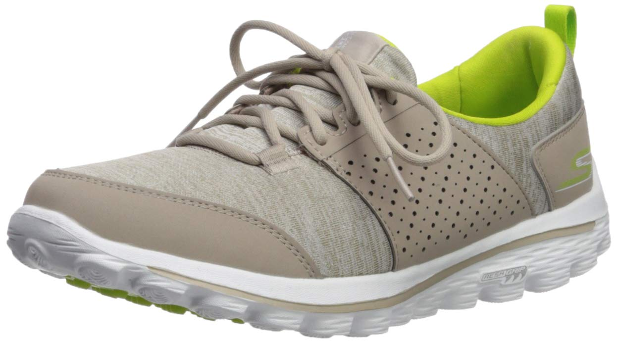 Skechers Women's Go Walk 2 Sugar Relaxed Fit Golf Shoe, Taupe/Lime, 6 M US by Skechers