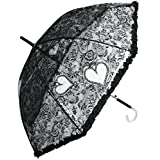 RainStoppers W3466 Auto Open Plastic Lace Print Arc Umbrella with Ruffle and Hook Handle, Clear, 48
