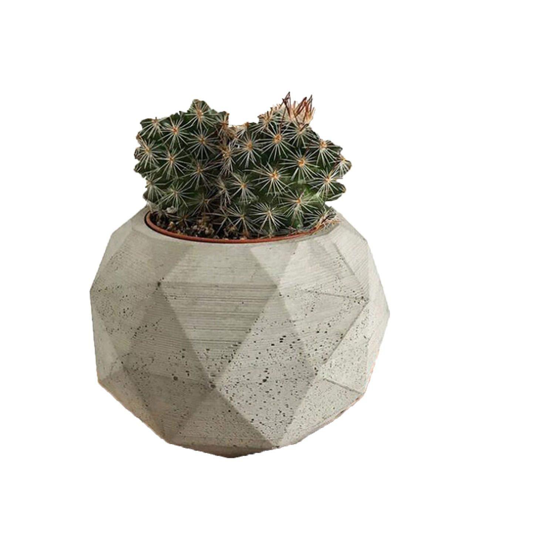 ART-H Flower Pot Concrete Molds Geometric Diamond Shape Plaster Silicone Mold Round Succulents Flowerpot Cement Clay Mould