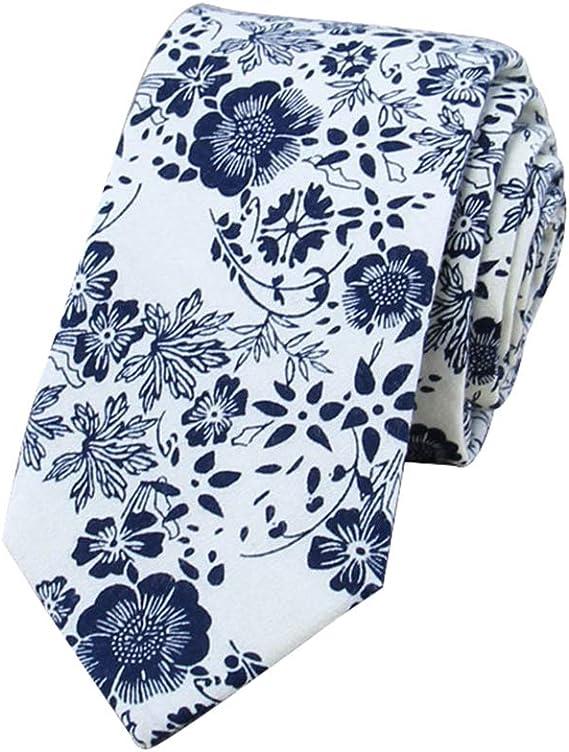Westeng 1pcs Cravate florale pour homme en Coton Cravate