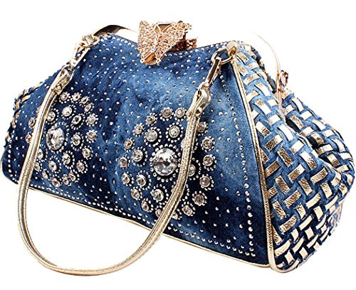 COOFIT Women Denim Blue Knitted Handbags with Shiny Rhinestone Top Handle Bag