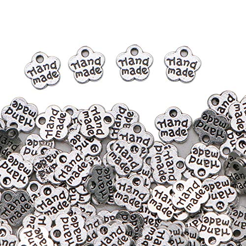 (JETEHO 300 Pcs Silver Tone Small Metal Flower Shaped Handmade Tags Charms Pendants Bulk for Crafts Jewelry Making)