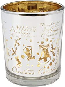 Just Artifacts Christmas Metallic Votive Candle Holder 2.85-Inch - Silver and Gold Christmas Bells (Set of 6) - Glass Votive Candle Holders for Weddings and Home Décor