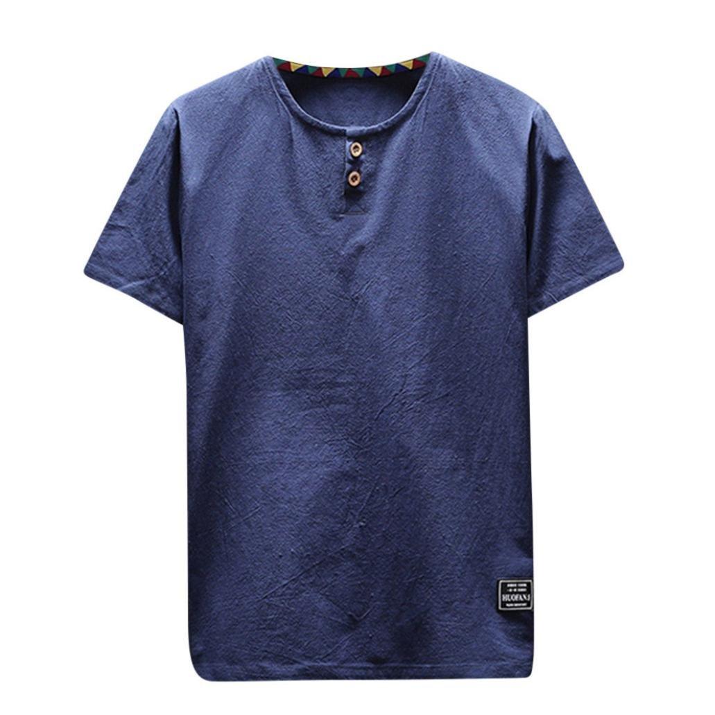 Gusspower Hombre Casual Camisa De Lino Color S/ólido Manga Corta Blusas