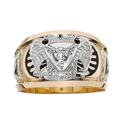fddccb9d4ea13 10k Yellow Gold 32 Degree Scottish Right Diamond Masonic Ring|Amazon.com