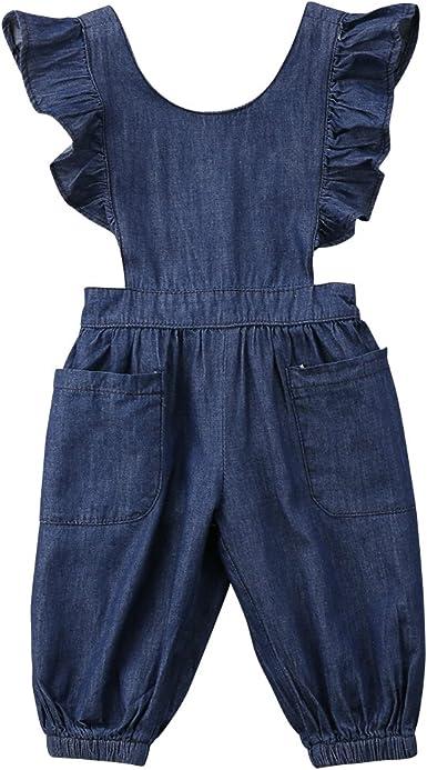 Toddler Kid Baby Girls Denim Long Strap Jumpsuit Romper Bodysuit Playsuit Outfit