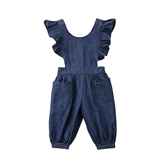 Amazoncom Honganda Kids Toddler Baby Girl Ruffle Backless Denim
