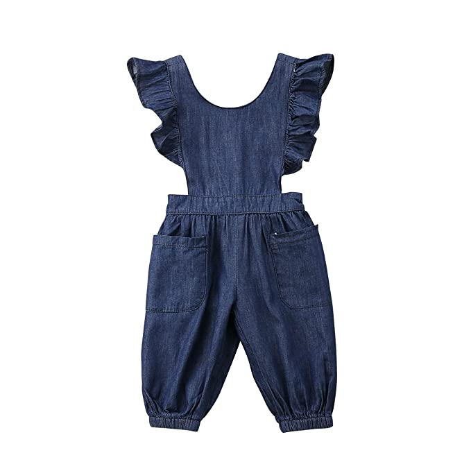 1308bfda7 Honganda Kids Toddler Baby Girl Ruffle Backless Denim Romper Jumpsuit With  Pockets Overalls (Denim,