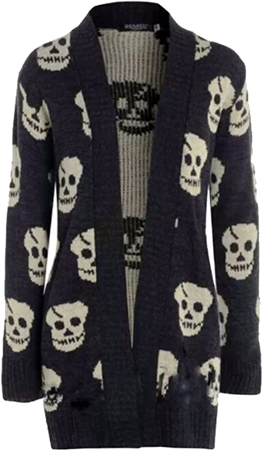 Skull Print Knitted Cardigans by Thever