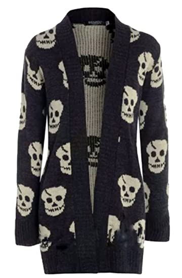 Thever Women Ladies Halloween Skull Skeleton Print Open Front Knitted  Cardigan (2XL(18- f70f5754e