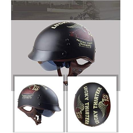 ABN Sicherheitszertifizierung QYHT Sommer Motorrad Retro Helm Personalisierte Retro Half Helm DOT L,D ECE Mode Harley Motorrad Helm CNS