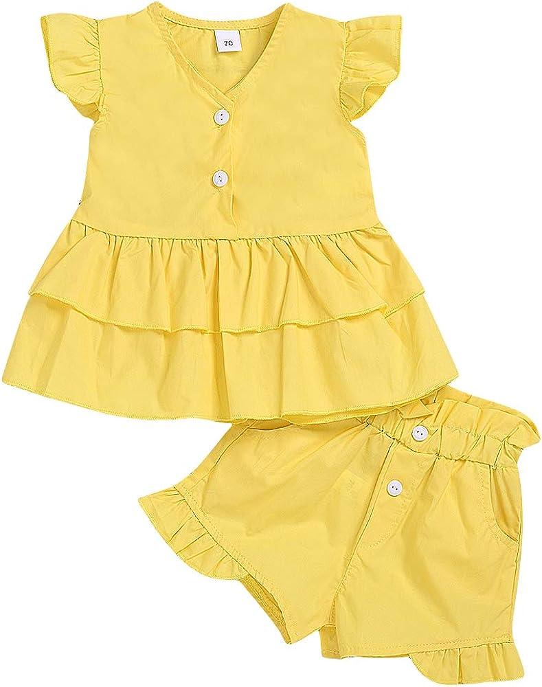 Borlai - Juego de ropa para bebé (2 piezas, sin mangas, camiseta amarilla) + pantalones cortos de 0 a 24 meses Amarillo amarillo 0- 6 meses: Amazon.es: Ropa y accesorios