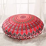 Sleepwish Large 30'' Round Pillow Cover Boho Mandala Floor Cushion Zen Meditation Pillow Case Outdoor Pom Pom Pillow Sham (Girly Red)
