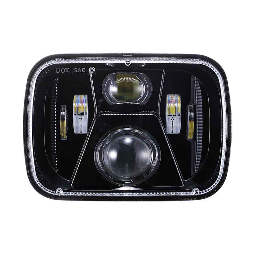 DOT 110W Rectangular Sealed High Low Beam 5x7 7x6 Inch LED Headlights For Jeep Wrangler YJ Cherokee XJ Comanche MJ GMC Savana Safari Ford Chevrolet Replacement H6014 H6052 H6054 Black