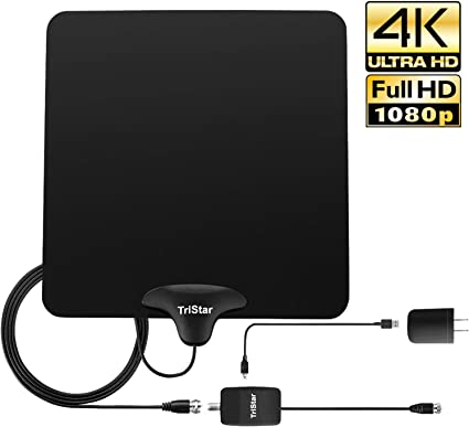 Flat Indoor HDTV Antenna VHF UHF Digital TV Home Full HD 1080p 25 Miles White