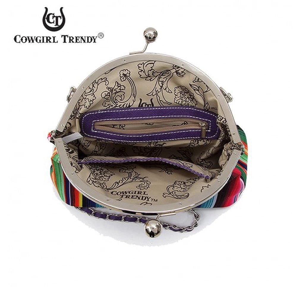 Cowgirl Trendy Sugar Skull Kiss-lock Serape Crossbody Purple