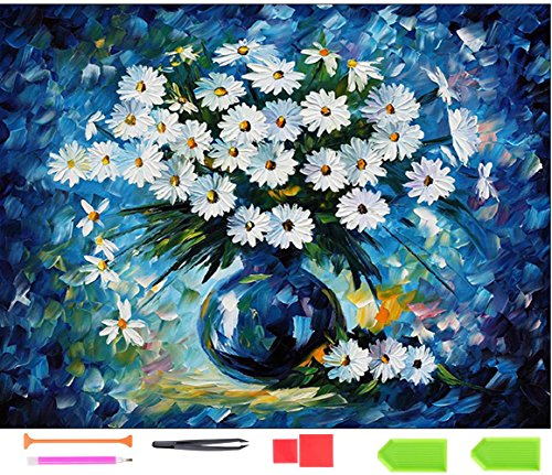 【Full Round Drill】 DIY 5D Diamond Painting by Number Kits Crystal Rhinestone Diamond Embroidery Paintings Pictures Arts Craft for Adults Or Kids- Little Daisy by Ten Tree