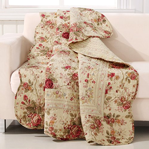 Floral Cotton Throw Quilt - Greenland Home Antique Rose Quilted Patchwork Throw