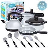 JIXUN Pretend Play Kitchen Set for Kids,10 Piece Kids Cookware Playset Development Educational Toy Include Pots,Pans and Utensilsfor KidsEarly Age 2,3,4,5 Years Old