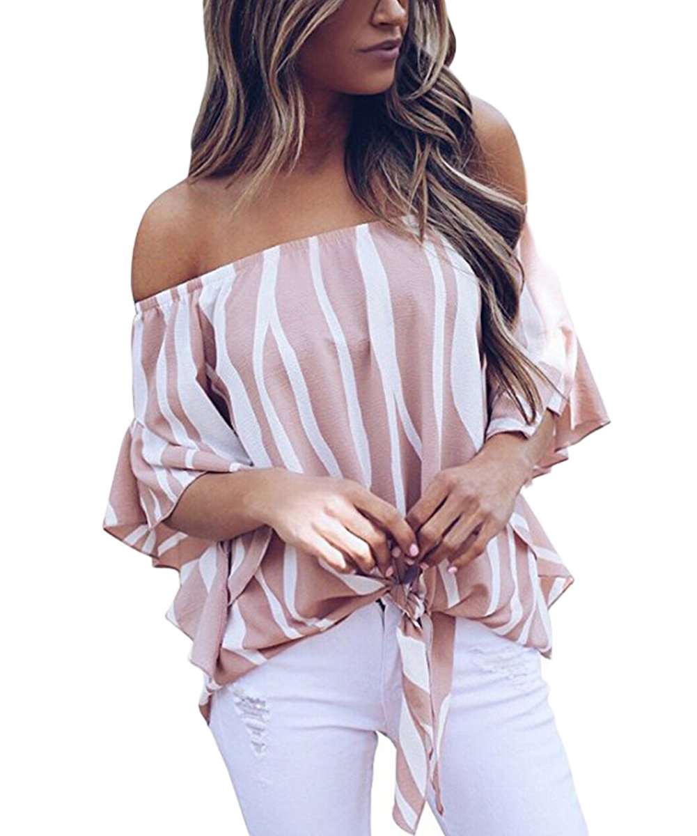 Women's Blouses Chiffon Summer Short Sleeve Tie Front Tops Shirts Pink S
