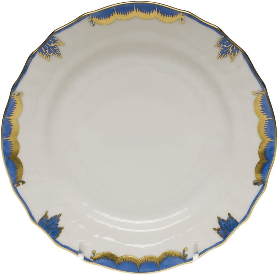 Herend Fish Scale Rim Soup Plate Blue