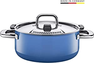 Silit pan Ø 24cm, Approx. 4.4l, Nature Blue. Metal Control lid, Made in Germany, Silargan Functional Ceramic, Suitable for Induction hobs, Dishwasher Safe