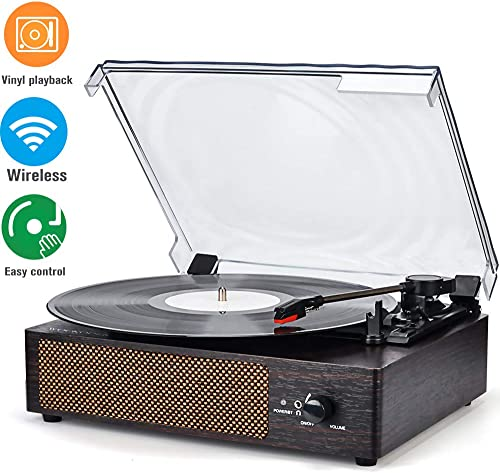 Record Player Turntable Wireless Portable LP Phonograph with Built in Stereo Speakers 3-Speed Belt-Drive Turntable Vinyl Record Player