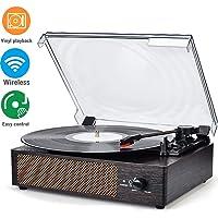 WOCKODER Tocadiscos inalámbrico portátil LP con Altavoces estéreo Integrados de 3 velocidades, Tocadiscos, Tocadiscos de Vinilo