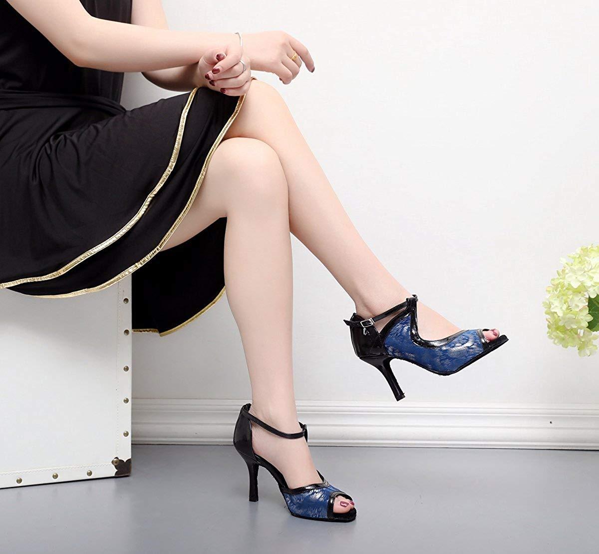 Qiusa Qiusa Qiusa TJ7130 Damen Mädchen Snake-Print Knöchelriemen Blau Synthetische Tanzschuhe UK 7 (Farbe   - Größe   -) 354faf