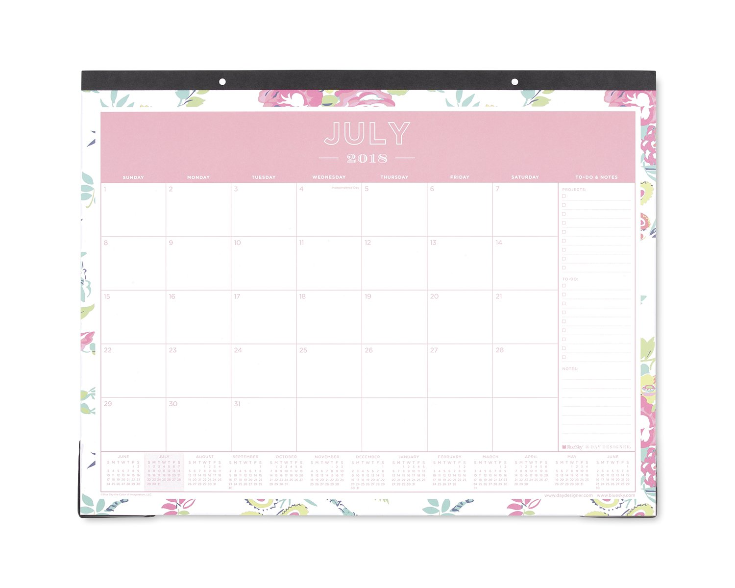 Day Designer for Blue Sky 2018-2019 Academic Year Monthly Desk Pad Calendar, 22'' x 17'', Peyton White Floral Design