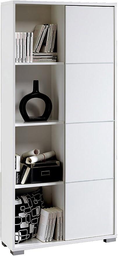 Abitti Estanteria o librería de pie en Color Blanco Brillo con Puerta corredera, Varios estantes en su Interior, para Comedor, Salon, Oficina o Dormitorio 180x80x32: Amazon.es: Hogar