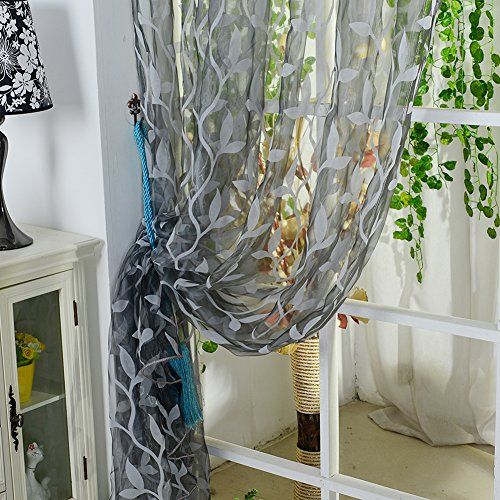 Edal Leaf Tulle Voile Door Window Curtain Drape Panel Sheer Scarf Valance Color Grey