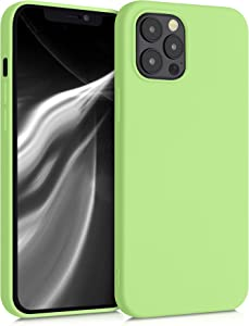 kwmobile Case Compatible with Apple iPhone 12 Pro Max - Soft Rubberized TPU Slim Protective Cover for Phone - Tomatillo