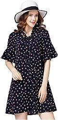 82bc79c0a158 YSJ Women's V-Neck Bowknot A-Line Swallow Print Short Sleeve Plus Size  Dresses