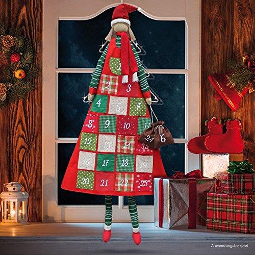 matches21 Großer Adventskalender mit Taschen Puppe Viola zum Befüllen/Selbstbefüllen 170 cm Mädchen mit Winterkleidung riesige 11,5 cm Stofftaschen
