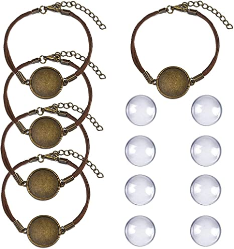 ToBeIT 36pcs Bezel Pendant Trays Round Wooden and Glass Cabochon Round Clear Dome for DIY Crafting Photo Jewelry Making