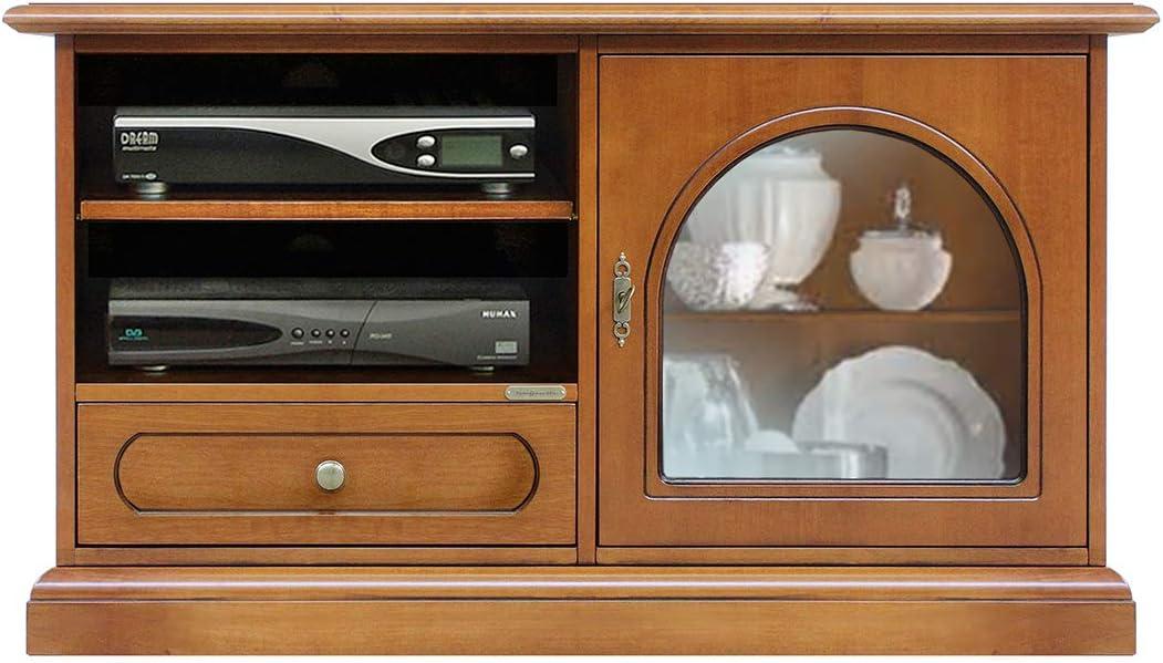 Arteferretto Mesa de TV, Mueble de salón, Mueble de Madera con 1 Puerta de Vidrio, 1 cajón, Mueble de Estilo clásico para televisión, Mueble TV Color Cerezo, Estante Regulable en Altura: Amazon.es: