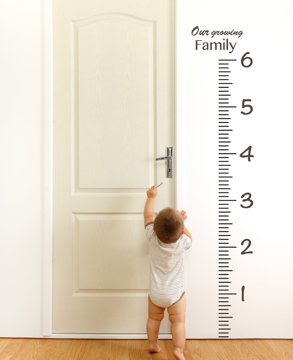 Giant Vinyl Growth Chart Kit | Kids DIY Height Wall Ruler Large Measuring Tape Sticker Number Decal Sticker (Azure Blue, 73x23 inches) The Decal Guru 1922-WALL-01-17