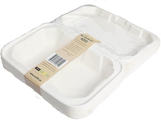 Biodegradable caña Clamshell (caja 9 x 6 pulgadas – Pack de 25 ...