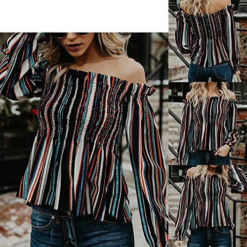 T Femmes Printemps Tees Fashion Tops Automne Manches Raye Casual Shirts Patchwork JackenLOVE Blouse Chemisier et Col Bande Longues Bateau Hauts q4txwaad