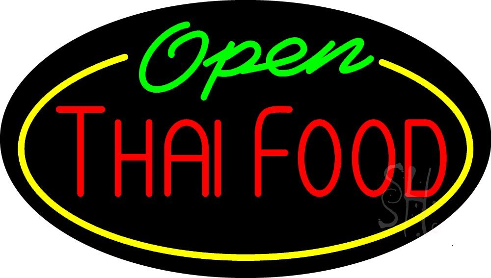 Thai Food Open Animated Outdoor Neon Sign 17'' Tall x 30'' Wide x 3.5'' Deep