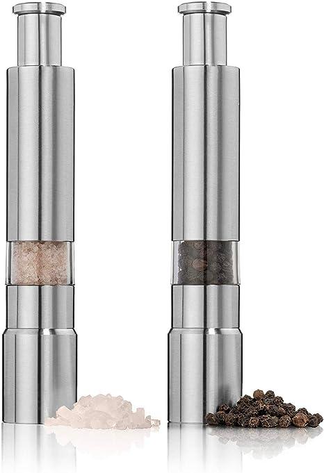 Amazon.com: Juego de 2 molinillos de sal y pimienta de acero ...