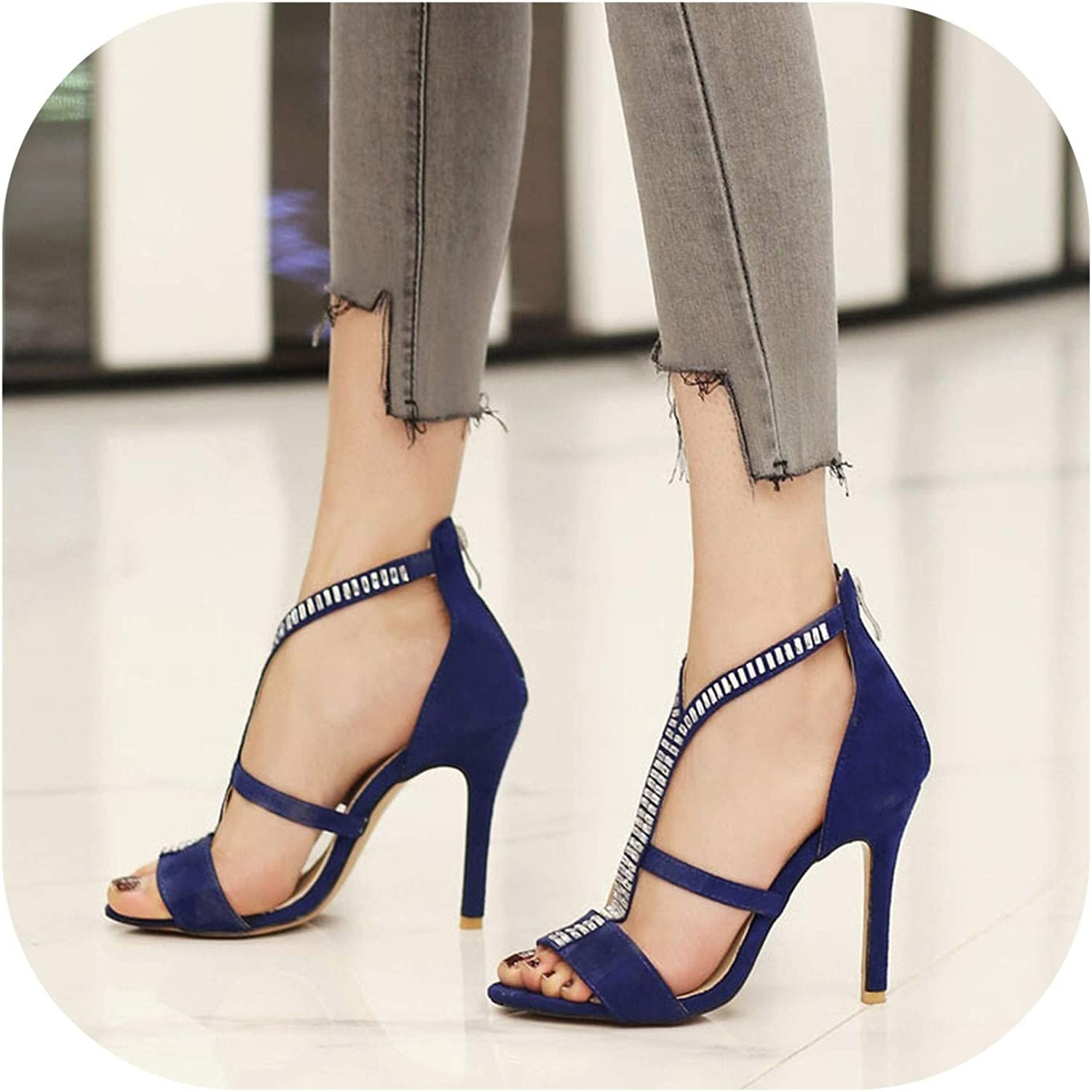 Big Size 32-46 Shoes Thin High Heels Crystal T-Strap Open Toe Cut Outs Gladiator Sandals,Blue,6