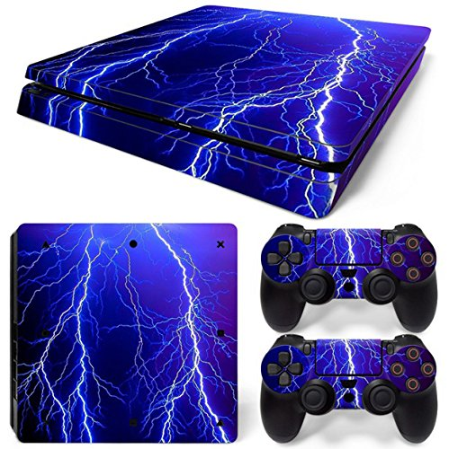 Gam3Gear Vinyl Decal Protective Skin Cover Sticker for PS4 Slim Console & Controller (NOT for PS4 or PS4 Pro) - Blue Thunder ()