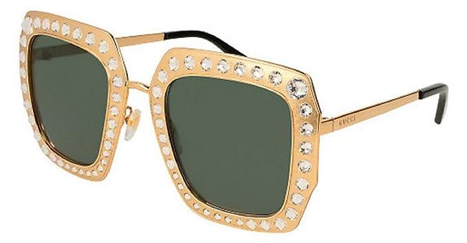 66ec03d3e Amazon.com: Gucci Sunglasses GG0115S 006 (Gold / Green): Clothing