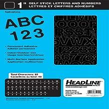 Headline Sign Stick on Letters Vinyl Lettering, Helvetica 1-Inch Black Caps/Numbers